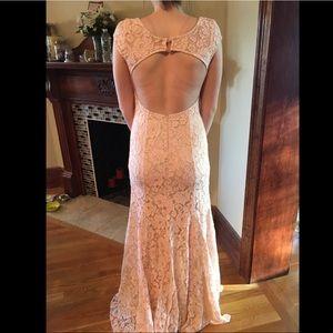 Blush floral prom dress